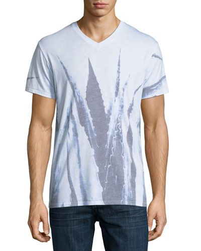 Agave Leaves Printed V-Neck T-Shirt