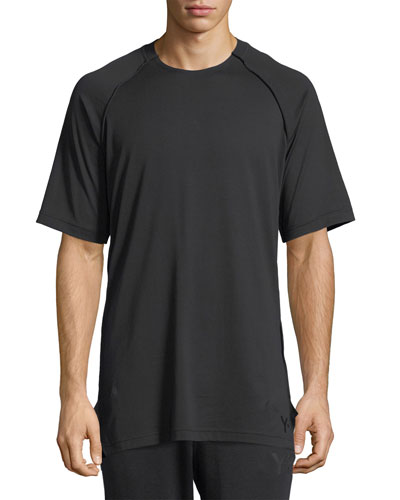 Y-3 RAGLAN SLEEVED CREW NECK T-SHIRT, BLACK