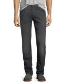 Straight-Leg Airweft Denim Jeans, Halide Gray