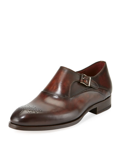 Leather Medallion-Toe Monk-Strap Shoe