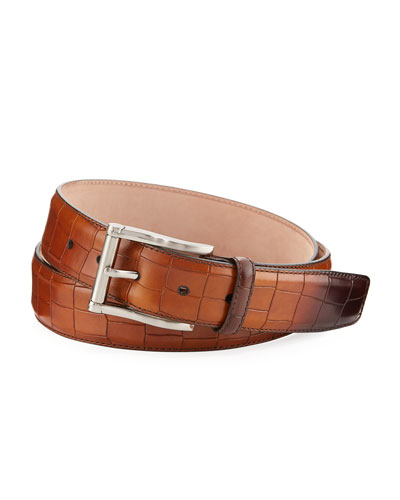 Stamped Calf-Leather Belt, Brown