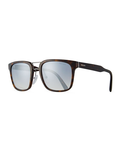 Men's Oversized Square Acetate Sunglasses, Brown Tortoiseshell