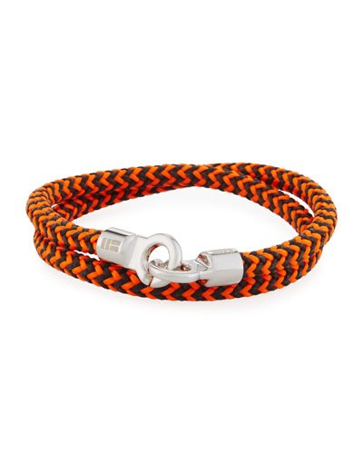 Men's Double Tour Braided Wrap Bracelet, Orange