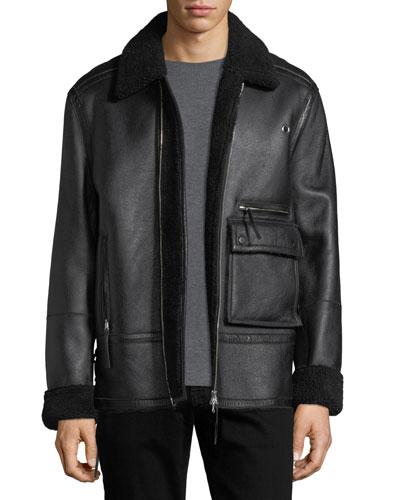 Drakon Shearling Fur Utility Jacket