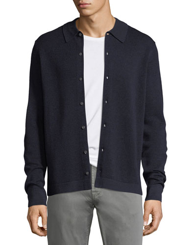 Collared Pique Wool-Silk Cardigan