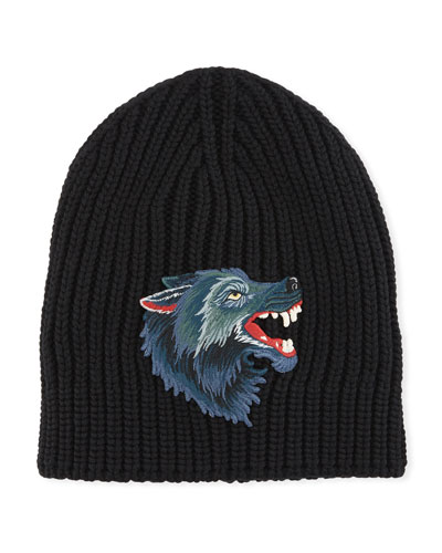 Wool Hat with Wolf