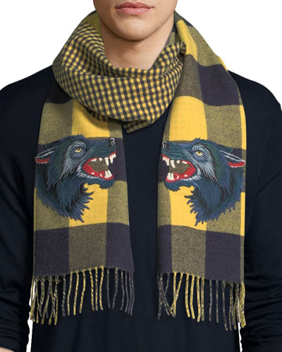 Check Wool Cashmere Scarf With Wolf in Yellow