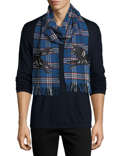 Check Wool Scarf with Wolf