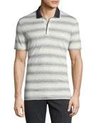 Men's Linen-Cotton Blend Nautical Striped Polo Shirt with Gancini