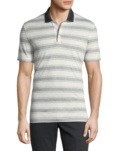 Linen-Cotton Blend Nautical Striped Polo Shirt with Gancini