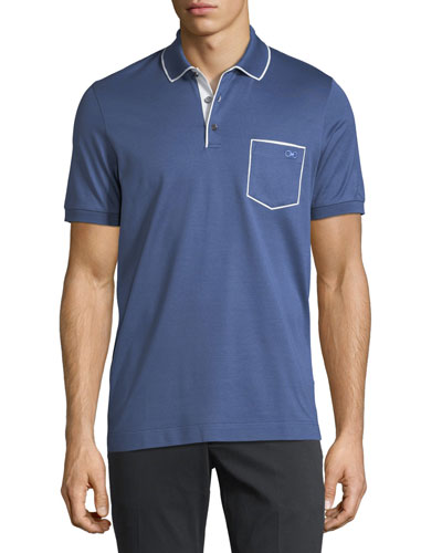 Cotton-Pique Contrast Piped Polo Shirt