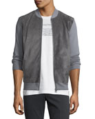 Men's Suede-Front Wool Zip-Front Sweater