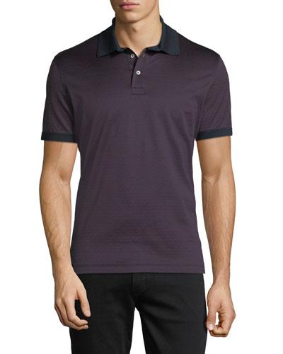 Gancino-Jacquard Knit Polo Shirt