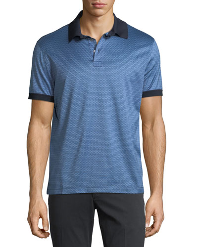 Cotton Gancini-Jacquard Polo Shirt