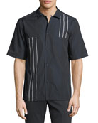 Short-Sleeve Bowler Shirt with Vertical Line Details