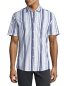 Men's Multi-Striped Short-Sleeve Sport Shirt