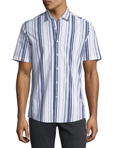 Men's Multi-Striped Short-Sleeve Sport Shirt