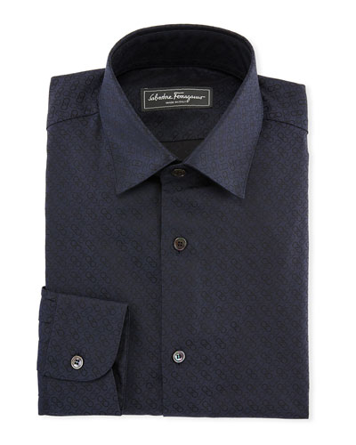 Gancini Jacquard Cotton Sport Shirt