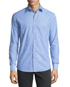Gancini-Print Cotton Sport Shirt, Blue