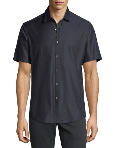 Men's Gancini-Jacquard Short-Sleeve Sport Shirt, Navy