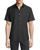 Gancini-Jacquard Short-Sleeve Sport Shirt, Black