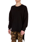 Oversized Wool Sweatshirt with Extended Hem