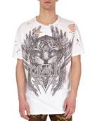 Distressed Tiger Head Logo T-Shirt, White