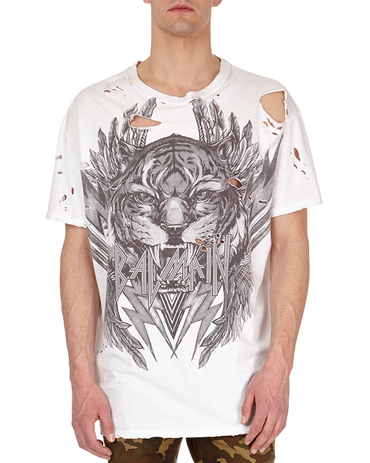 Distressed Tiger Head Logo T-Shirt, White