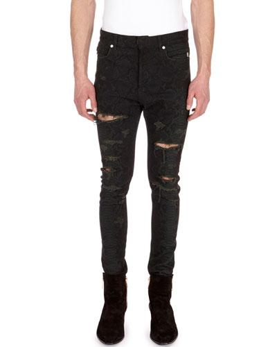 Distressed Python-Print Skinny Jeans