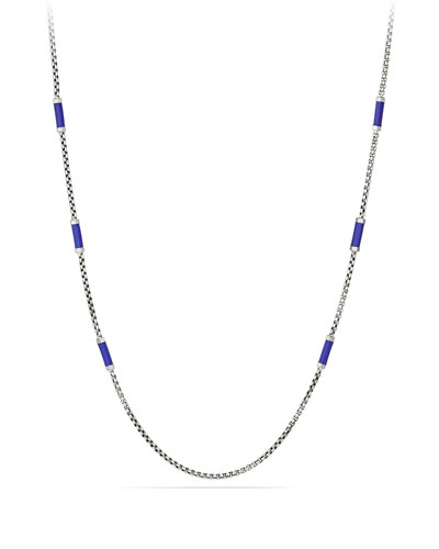 Men's Hex Chain Station Necklace, Blue