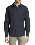 Mouline Grid Check Cotton Shirt
