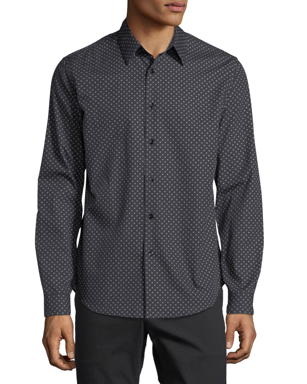 Stitch-Print Cotton Sport Shirt