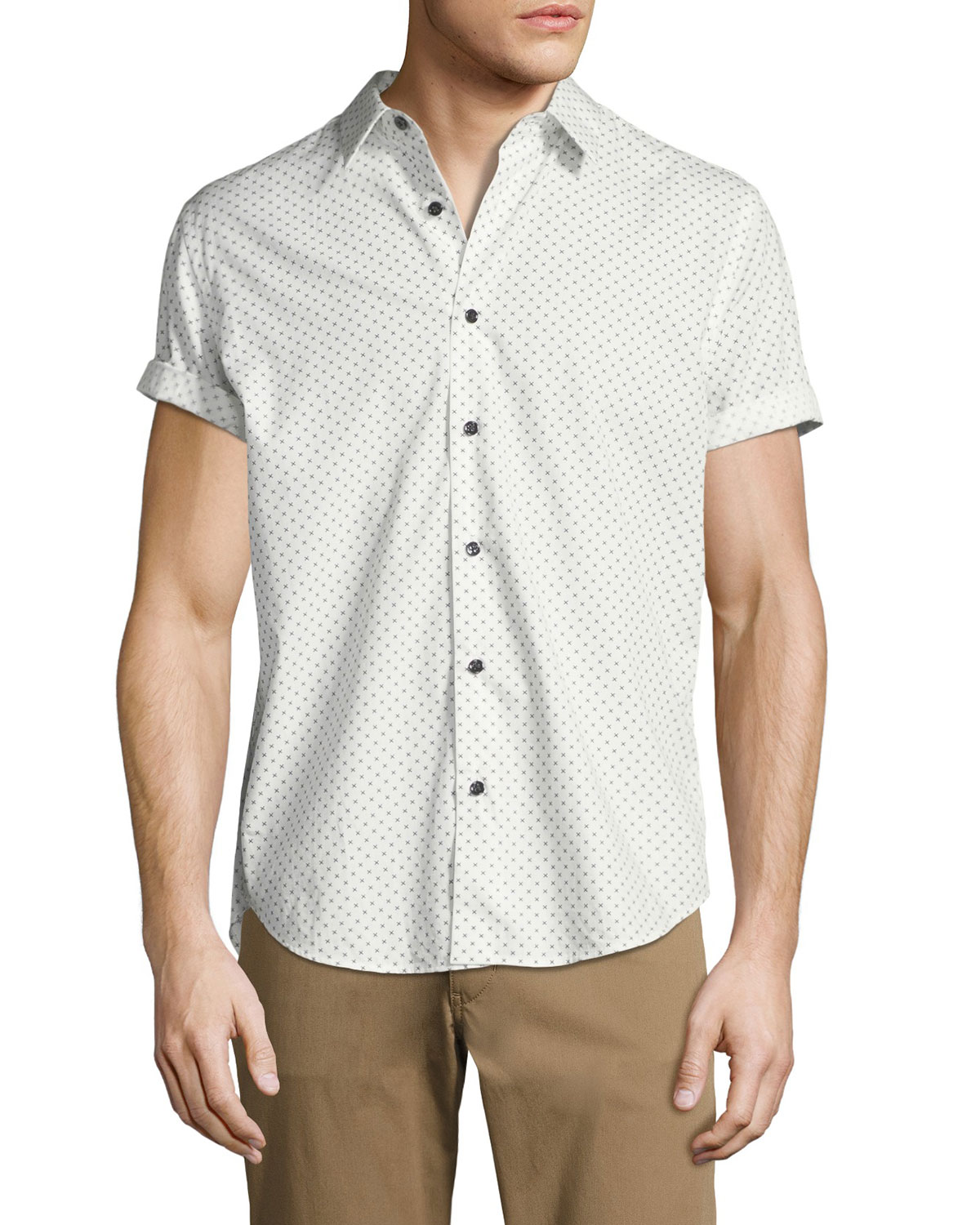 Stitch-Print Cotton Short-Sleeve Shirt
