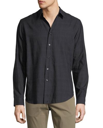 Brushed Tonal Plaid Cotton Shirt