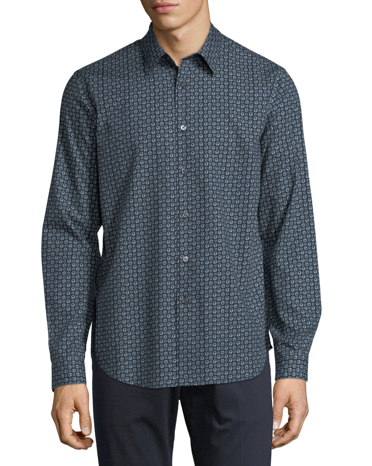 Leilan Printed Cotton Sport Shirt