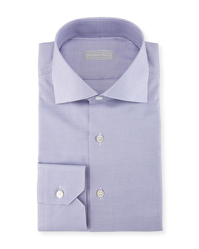 Micro Houndstooth Cotton Dress Shirt