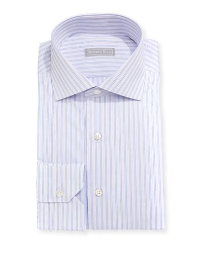 Double-Stripe Cotton Dress Shirt