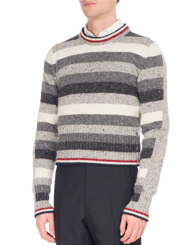 Striped Donegal Tweed Crewneck Sweater