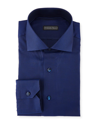Solid Woven Cotton Dress Shirt