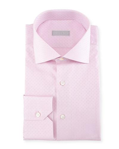 Tonal Square Jacquard Cotton Dress Shirt