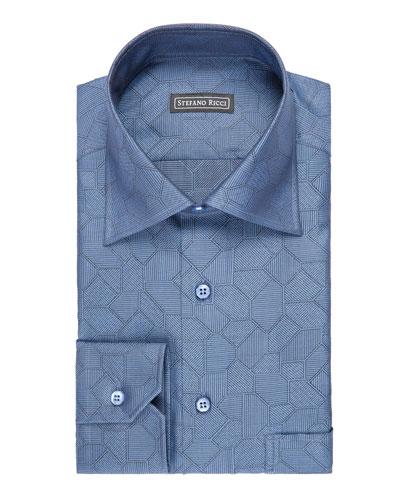Tile-Print Dress Shirt