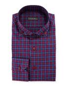 Barrel-Cuff Plaid Dress Shirt