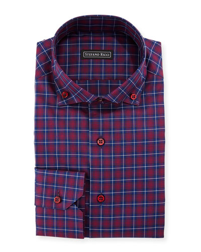 Barrel-Cuff Plaid Dress Shirt
