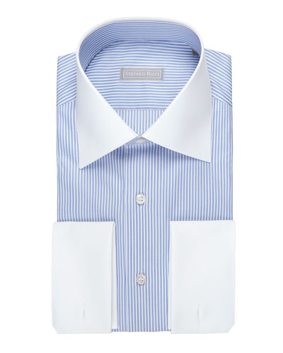 Striped Dress Shirt with Solid Collar & Cuffs