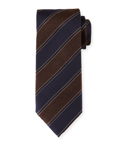 Melange-Striped Silk Tie