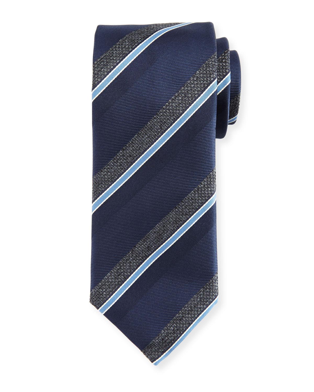 Melange-Stripe Silk Tie, Navy/Gray
