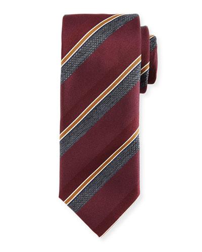 Melange-Stripe Silk Tie, Claret/Gray