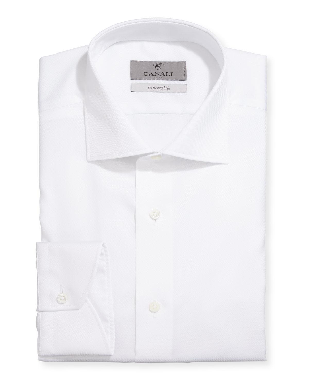 Impeccabile Modern-Fit Textured Solid Cotton Dress Shirt