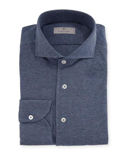 Knit Barrel-Cuff Dress Shirt