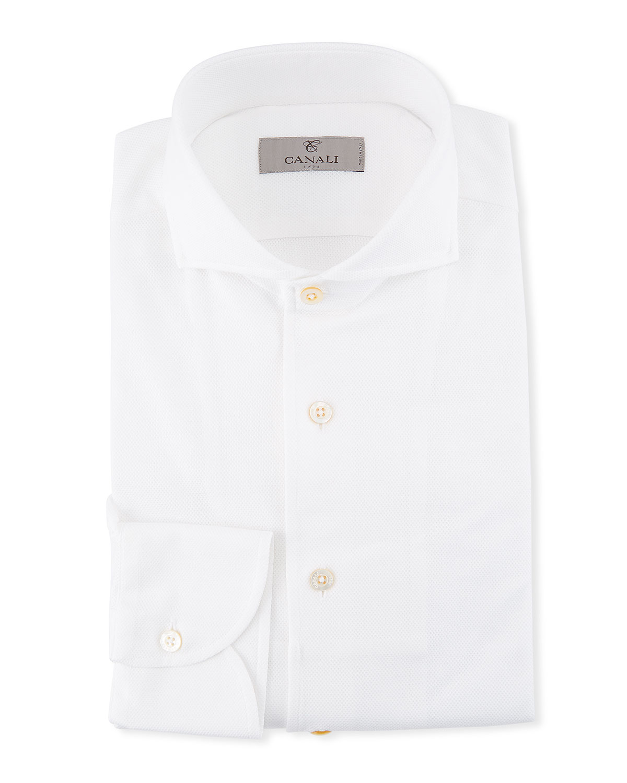 Men's Pique Knit Dress Shirt